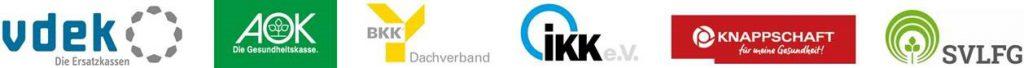 Logos der einzelnen gesetzlichen Krankenkassen, welche gemeinsam die pauschal Förderung von undesweiten Selbsthilfe Organisationen machen.