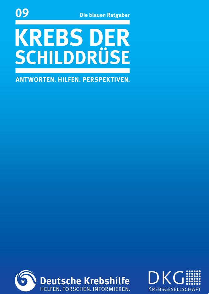 Titelblatt des blauen Ratgebers Schilddrüsenkrebs der Deutschen Krebshilfe