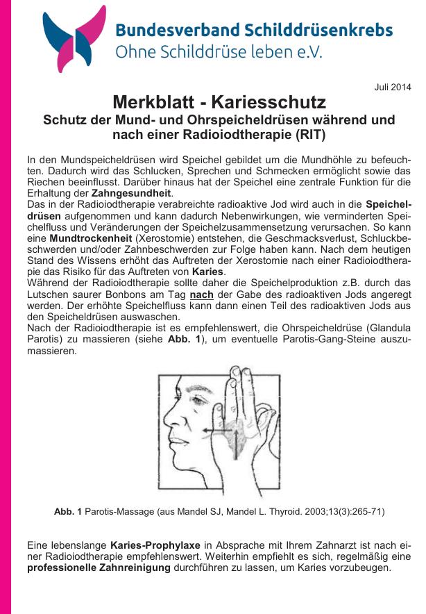 Titelblatt des Merkblattes Kariesschutz