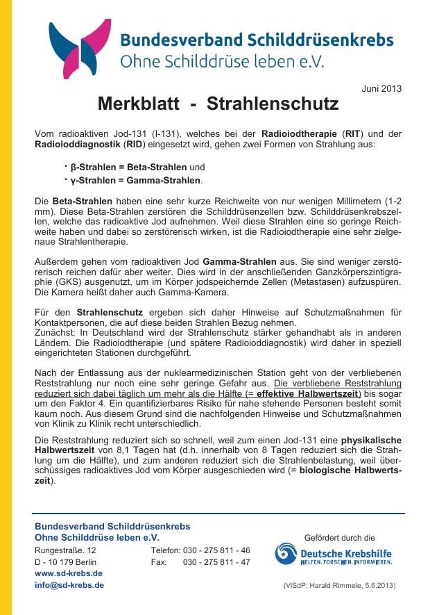 Titelblatt des Merkblattes Strahlenschutz