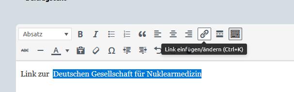"""Screenshot des Formulars, in dem der Text """"Deutsche Gesellschaft für Nuklearmedizin"""" markiert ist, und der Button """"Link einfügen/ändern"""" ausgewählt wurde."""