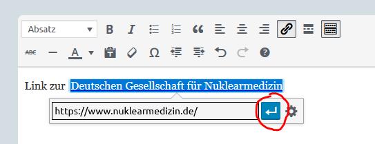 Screenshot des Formulars mit dem Eingabefenster, und Hervorhebung des Enter-Buttons, damit der Link bzw. die Linkänderung übernommen wird.
