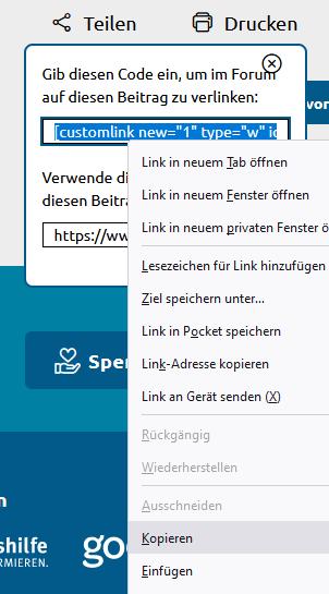 Der Teilen-Code wurde im Fenster anklickt und markiert. Mit der äußeren Maustase erhält man ein Menü des Browsers zum kopieren.