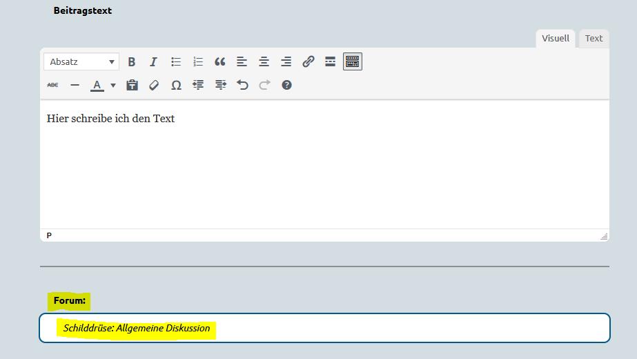 Screenshot eines Formulars, in dem nach dem Beitragstext das Forum zur Auswahl markiert ist.